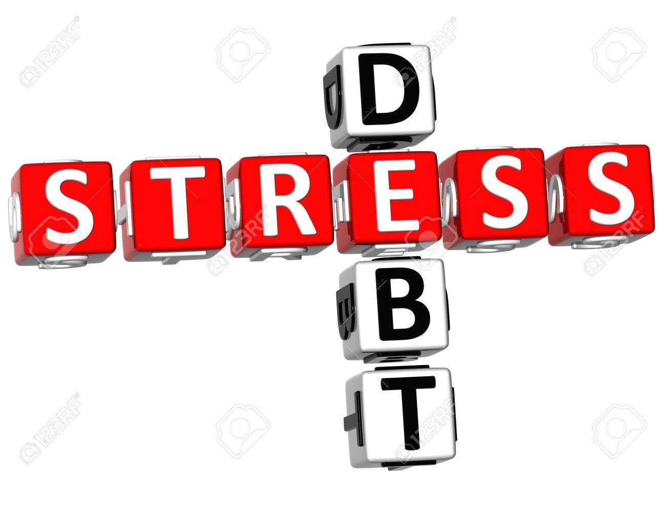 3D Stress Debt Crossword on white background Stock Photo - 9037697