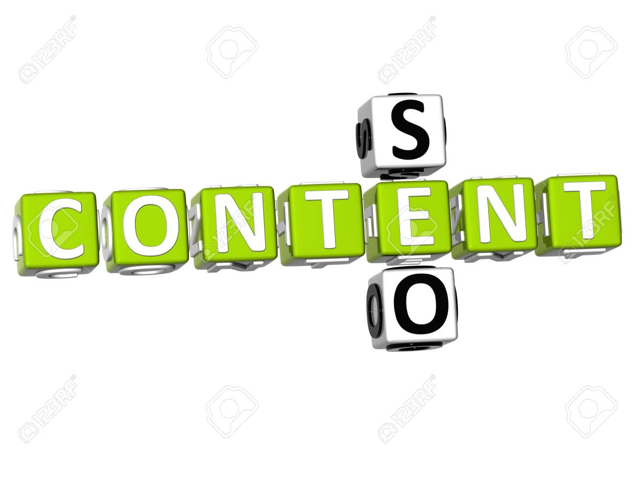 3D Seo Content Crossword on white background Stock Photo - 9089017