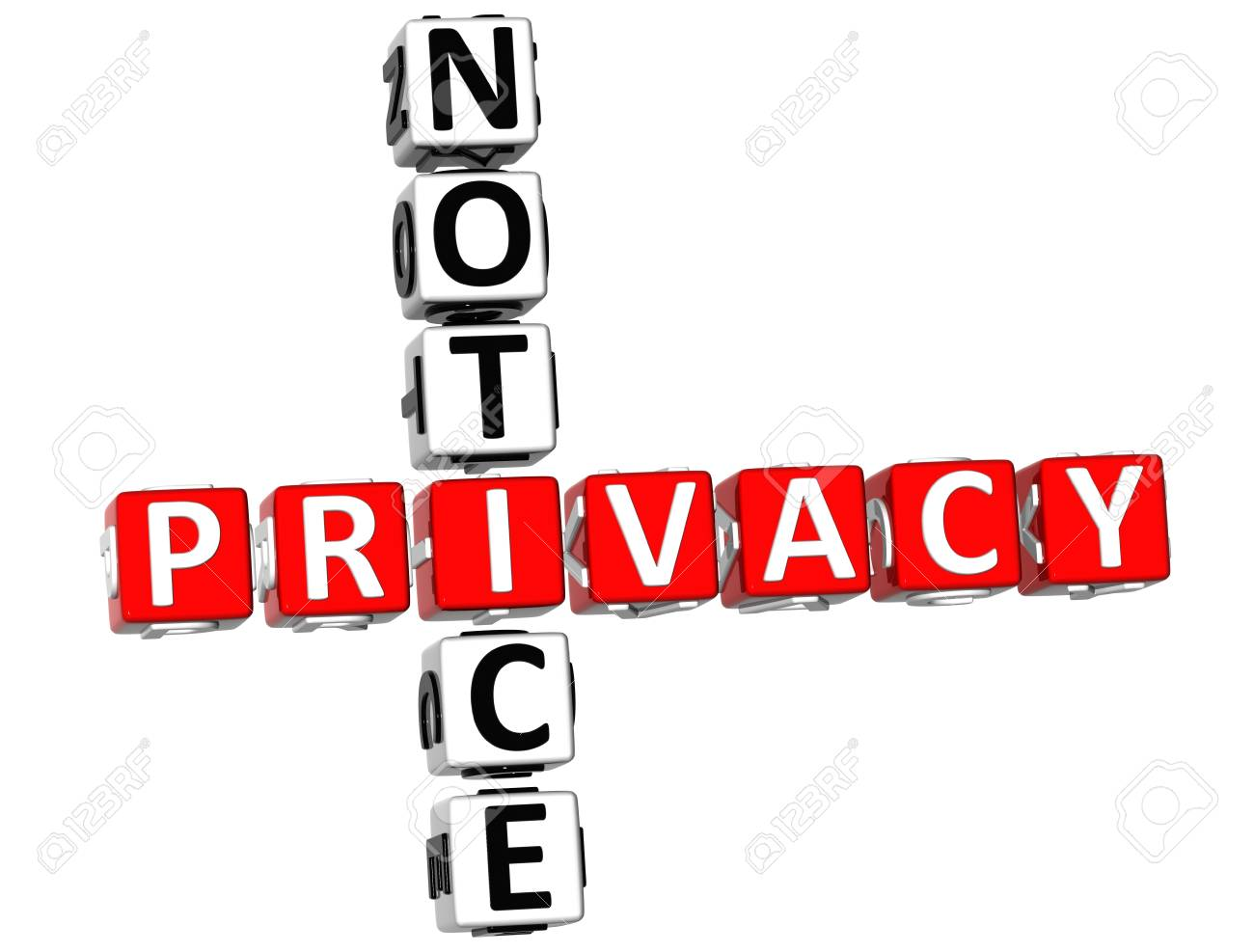 3D Privacy Notice Crossword on white background Stock Photo - 9164644