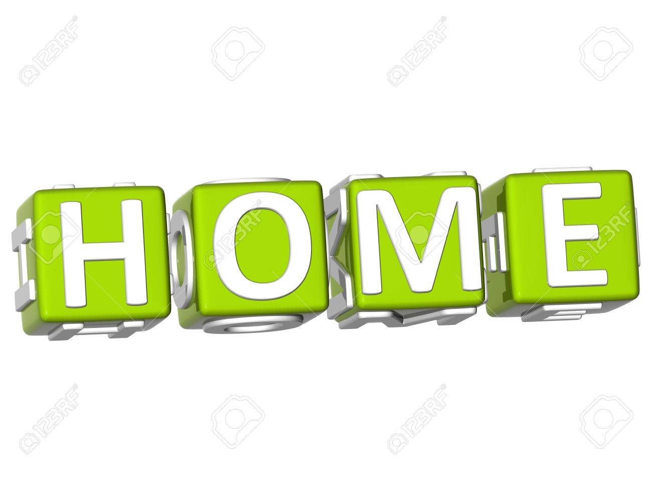3D Home Cube text on white background Stock Photo - 9164635