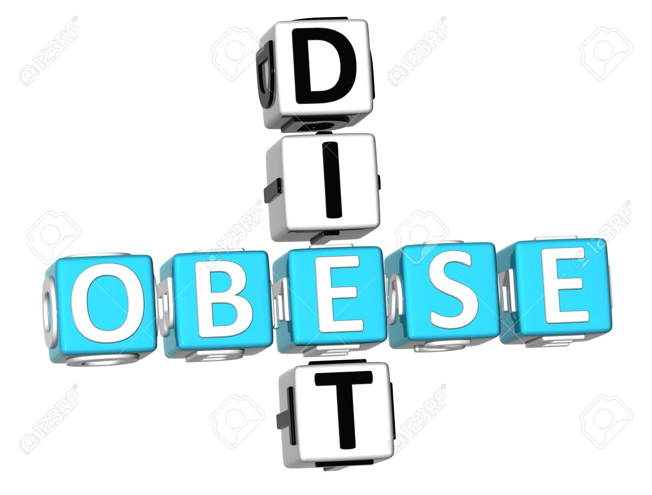 3D Obese Diet Crossword on white background Stock Photo - 9202115