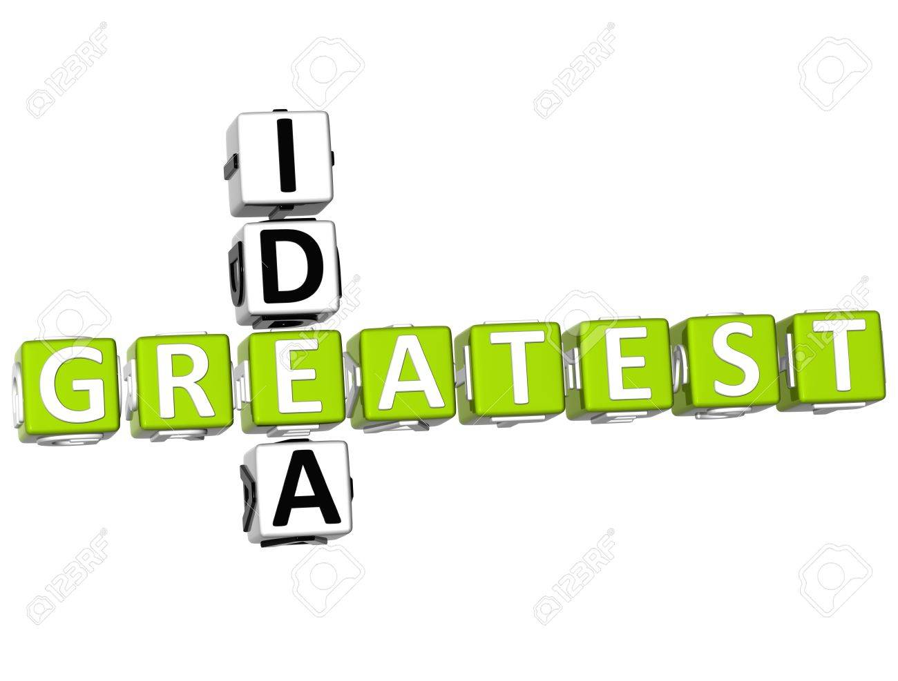 3D Greatest Idea Crossword on white background Stock Photo - 9552117