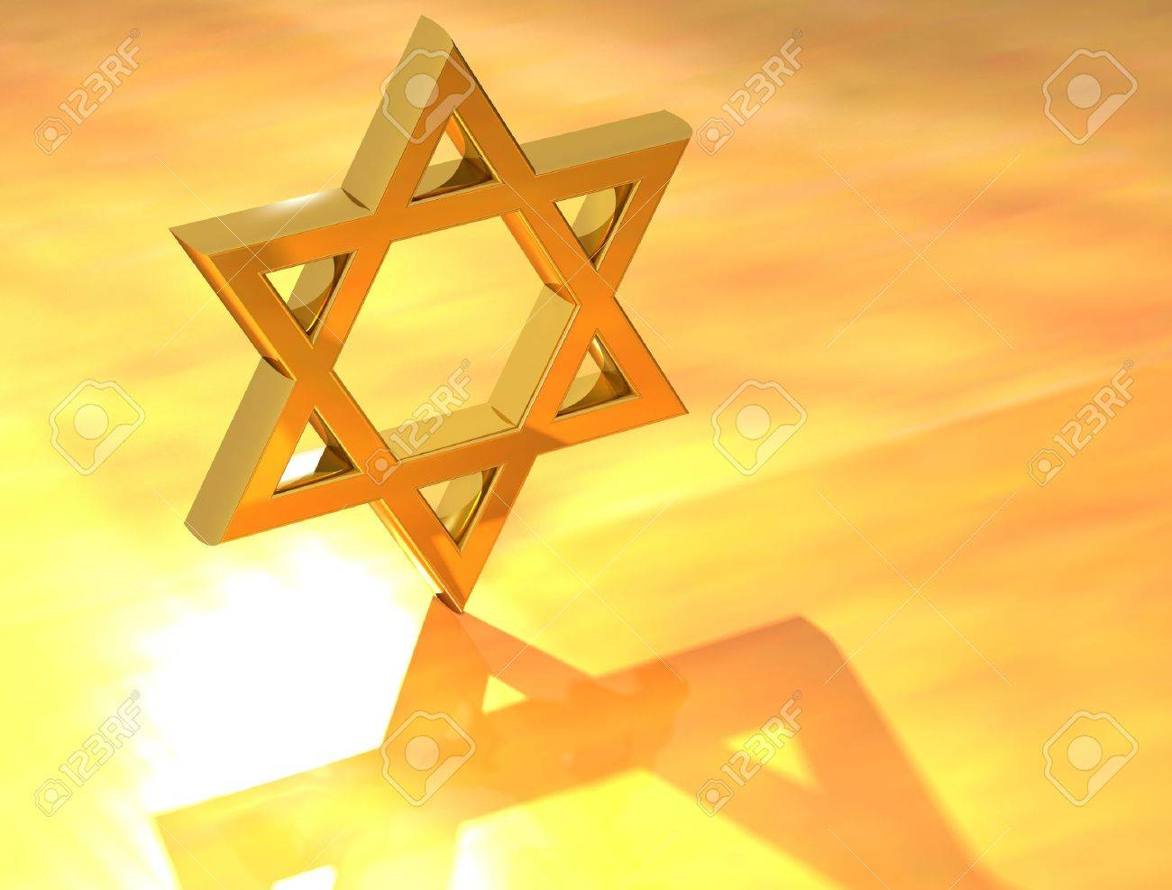 Star of David Gold Sign in yellow background Stock Photo - 9674445
