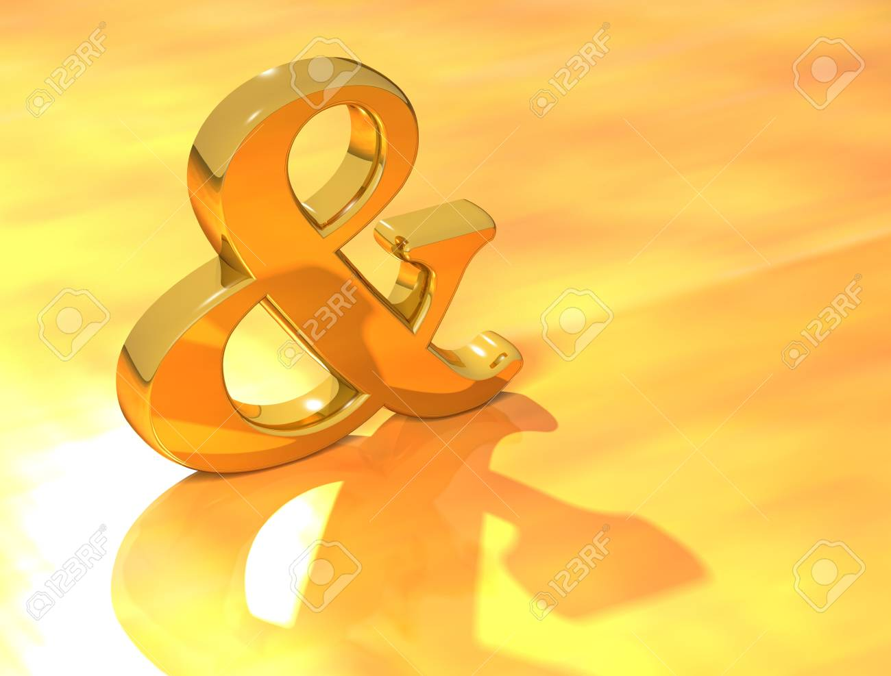 3D Ampersand mark on gold background Stock Photo - 9674444