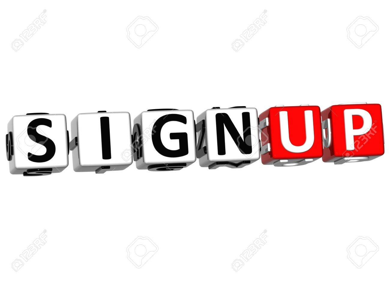 3D Sign Up Cube Text on white background Stock Photo - 9752185