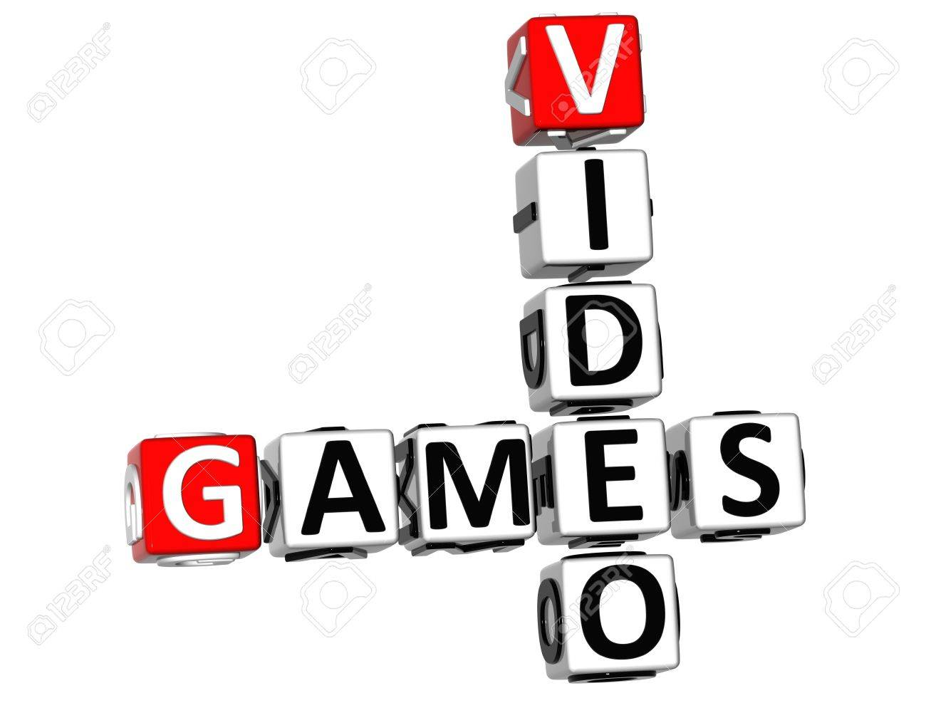 3d video games crossword on white background stock photo picture
