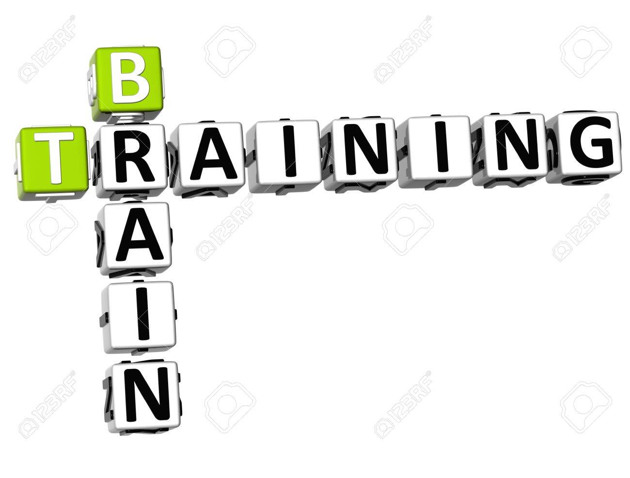 3D Brain Training Crossword on white background Stock Photo - 9887705