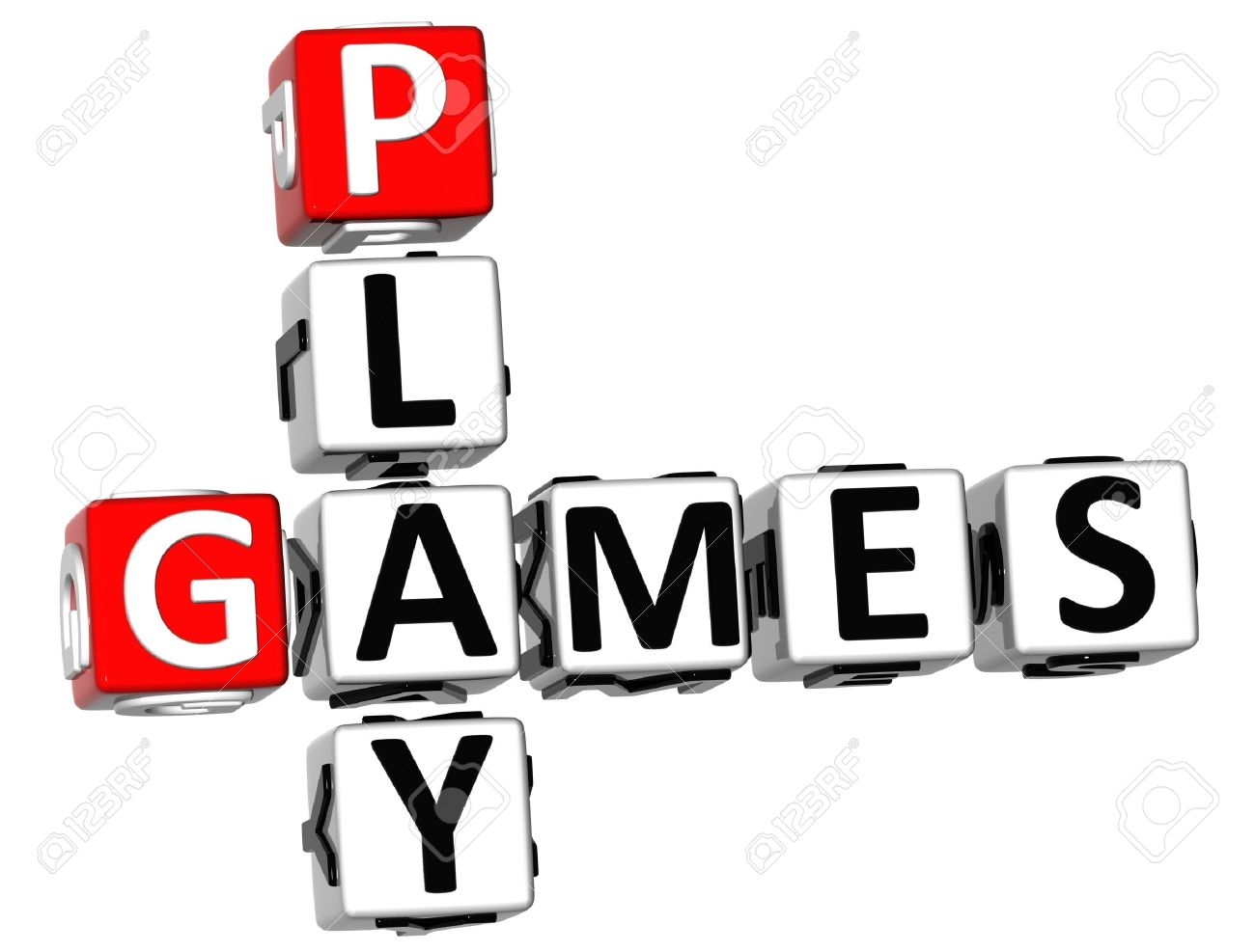 3D Play Games Crossword On White Background Stock Photo