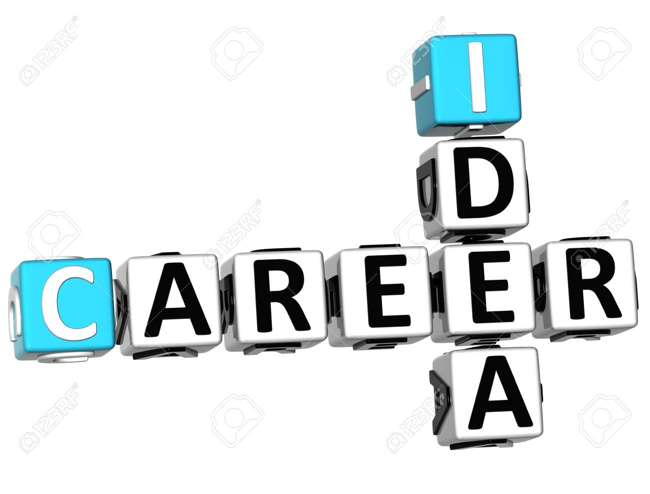 3D Career Idea Crossword on white background Stock Photo - 10388982