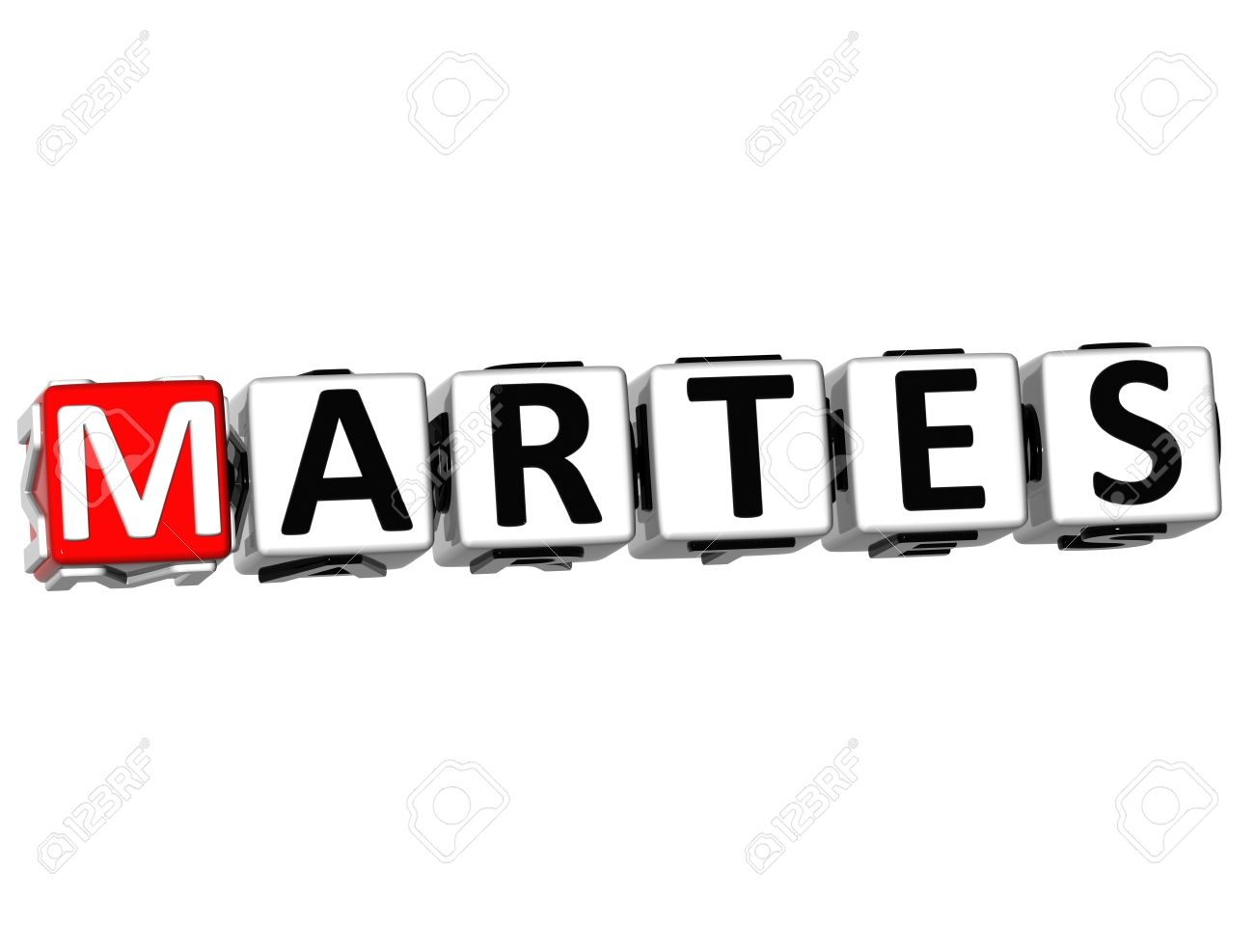 D Martes Block Text On White Background Stock Photo