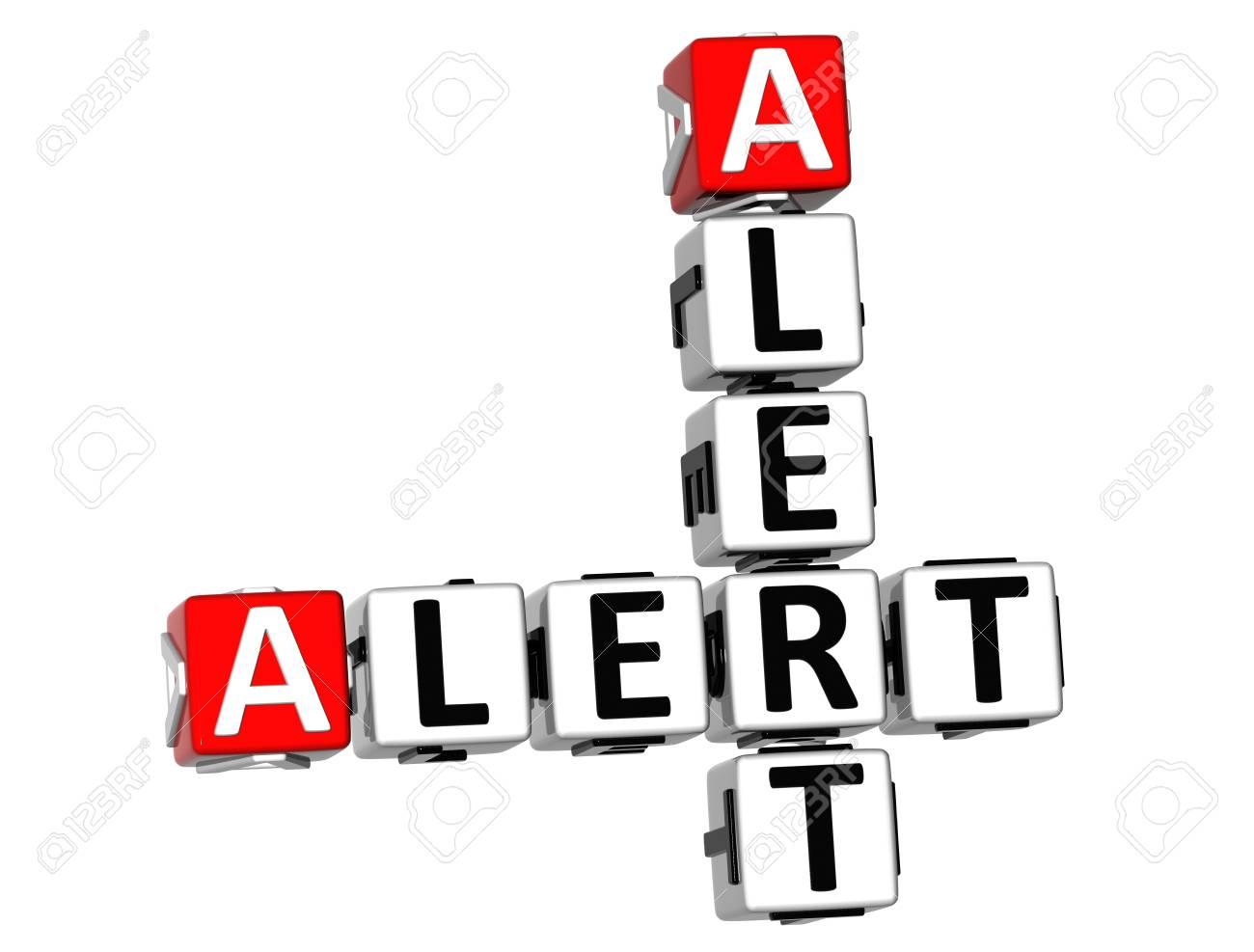 3D Alert Alert Crossword on white background Stock Photo - 11240290