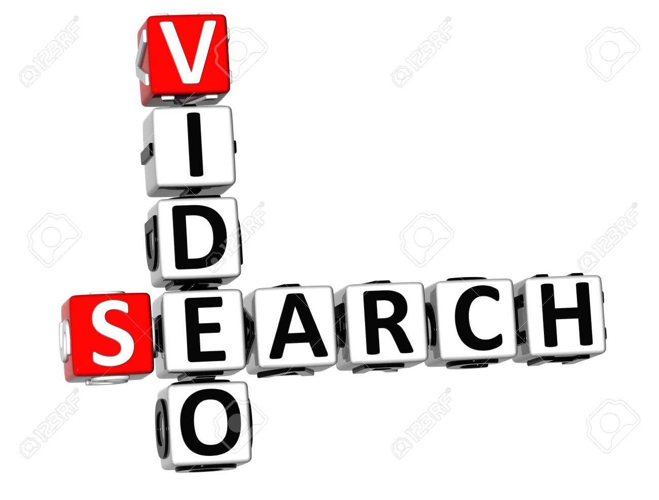 3D Search Video Crossword on white background Stock Photo - 11491034