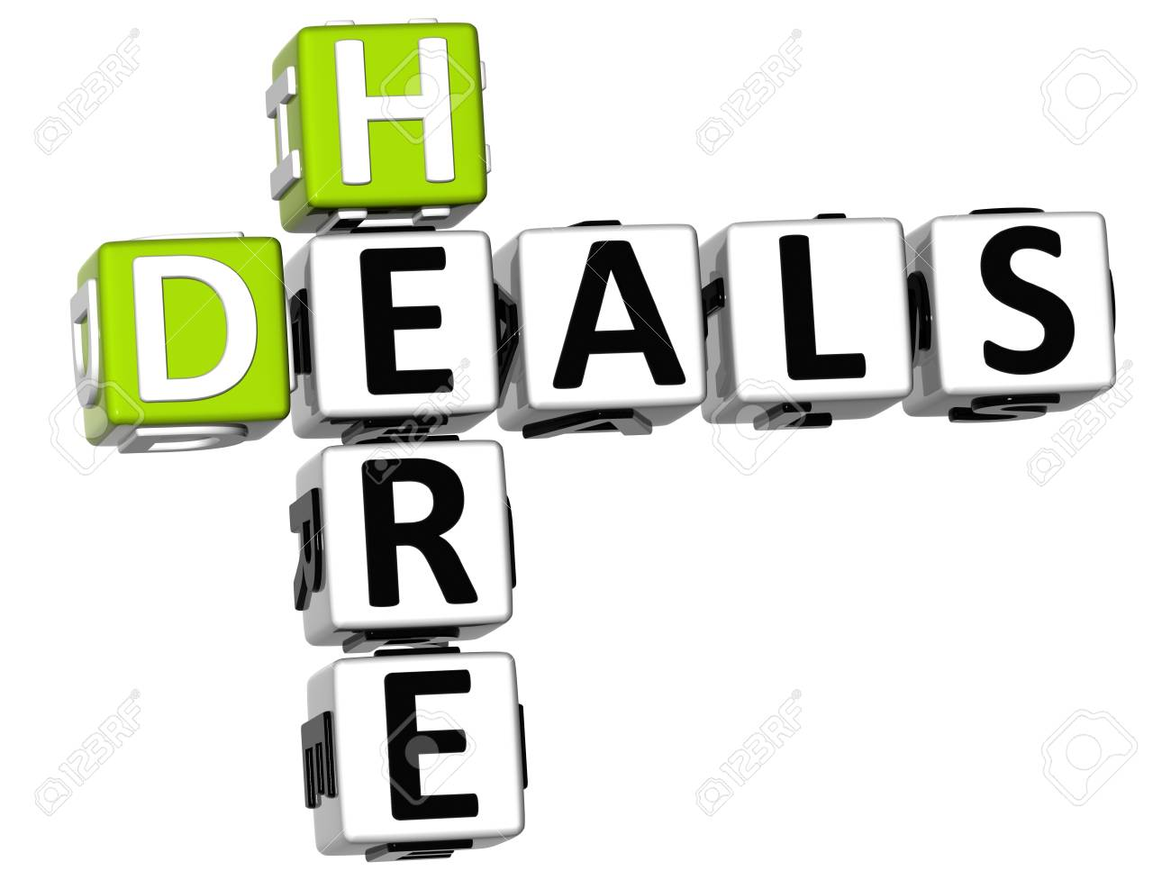 3D Deals Here Crossword On White Background Stock Photo
