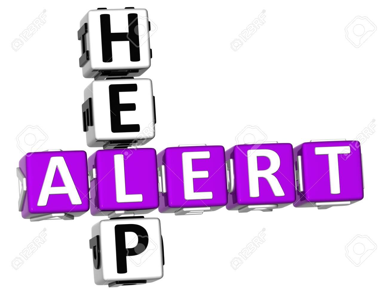 3D Help Alert Crossword on white background Stock Photo - 11735676
