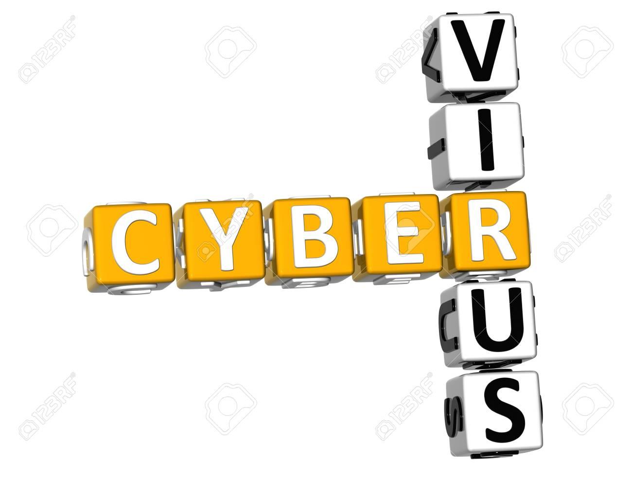 3D Cyber Virus Crossword on white background Stock Photo - 11735541