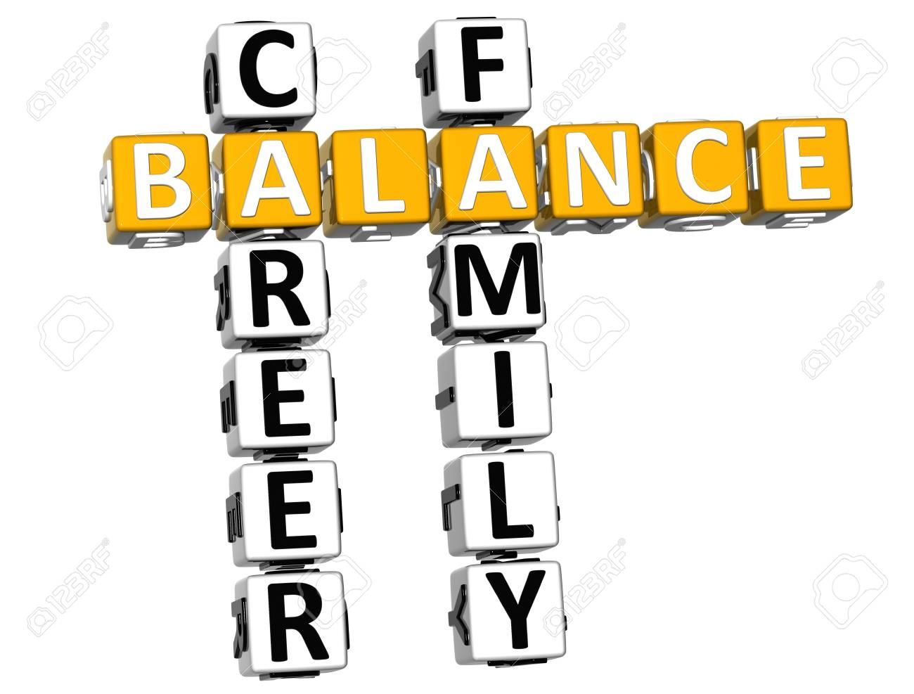 3D Balance Life Family Crossword on white background Stock Photo - 11841665