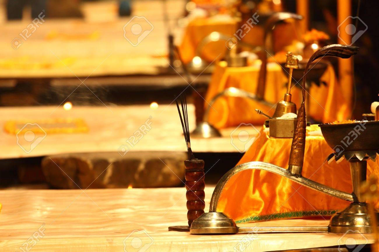 Religious Ganga Aarti ritual in Varanasi, India. Stock Photo - 12309492