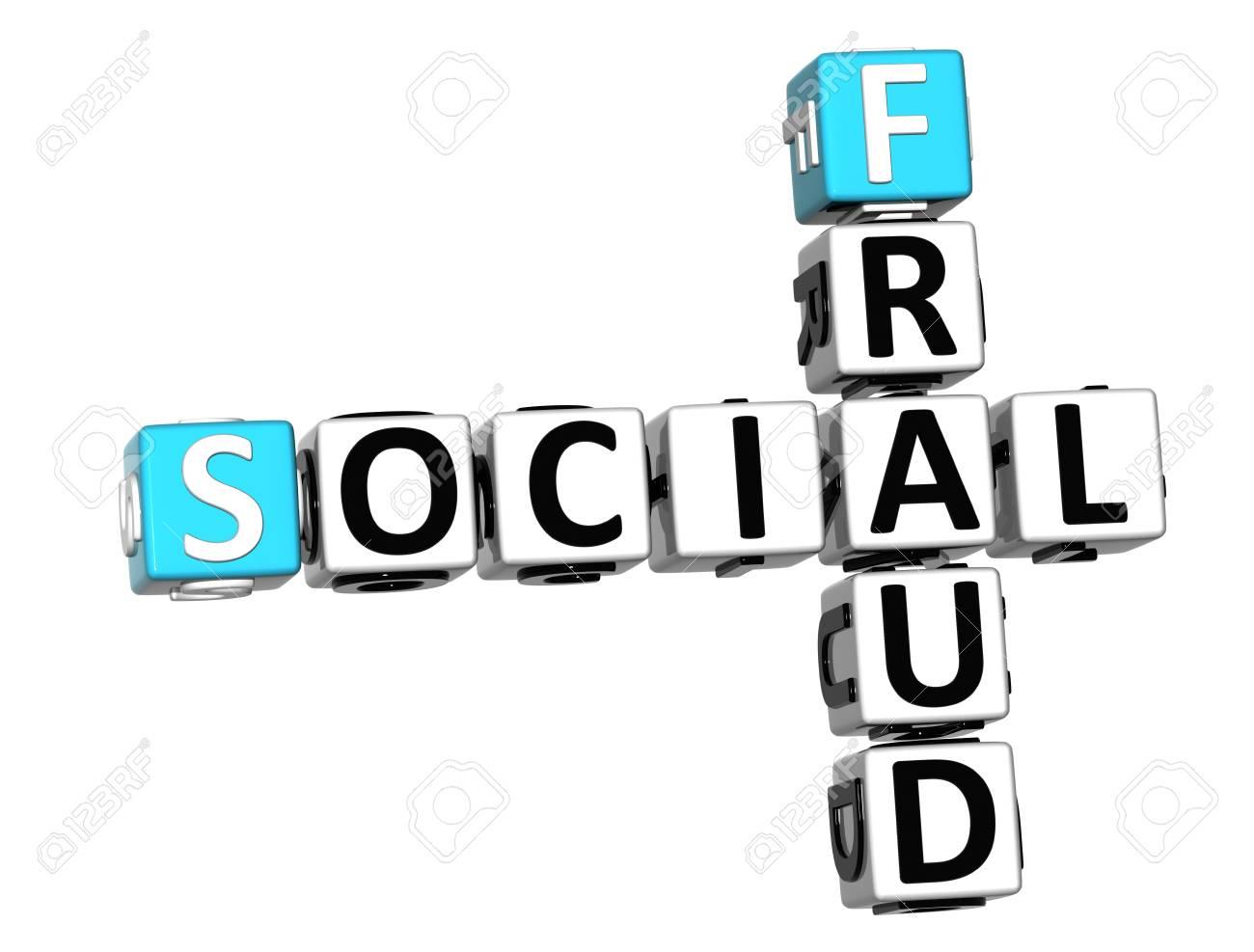 3D Social Fraud Crossword over white background Stock Photo - 12309154