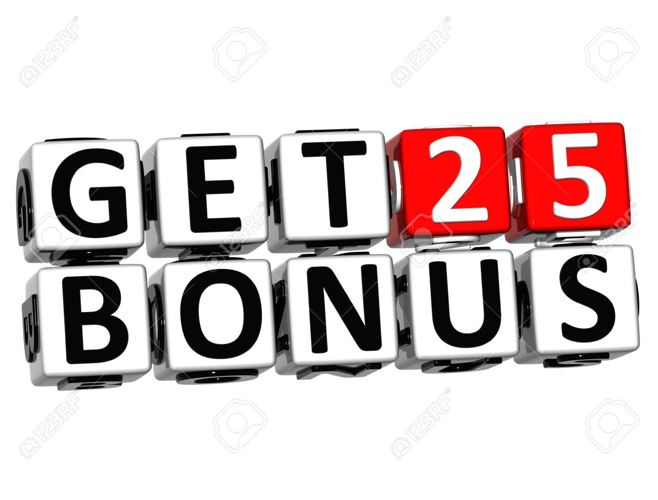 3D Get 25 Bonus Credits Block Letters over white background
