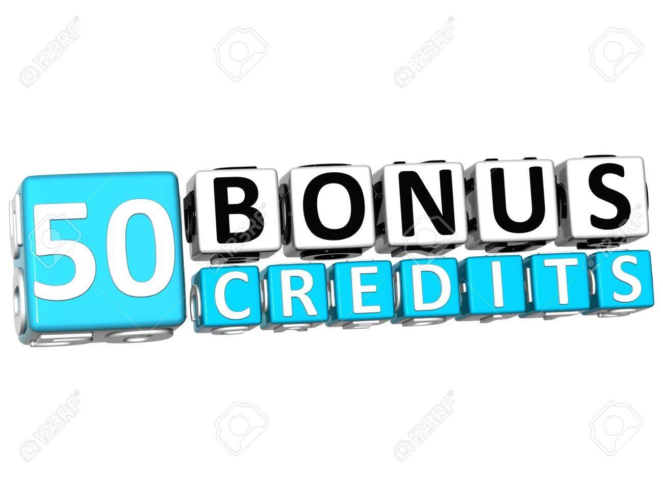 3D Get 50 Bonus Credits Block Letters over white background Stock Photo - 12570161