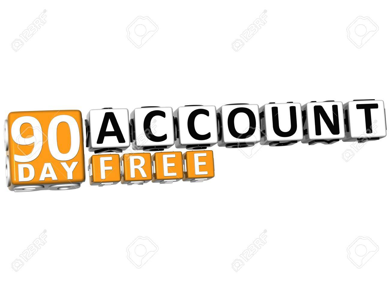 3D Get 90 Day Account Free Block Letters over white background Stock Photo - 12570127
