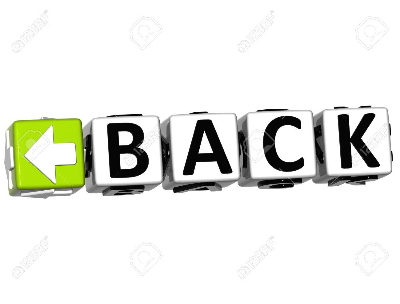 3D Back Navigation Button cube text over white background Stock Photo - 12570264
