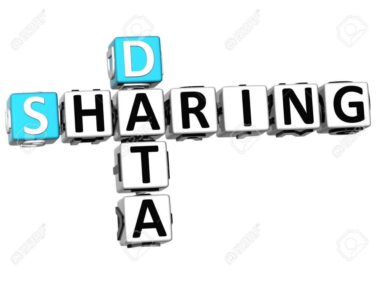 3D Sharing Data Crossword cube words on white background Stock Photo - 12570401