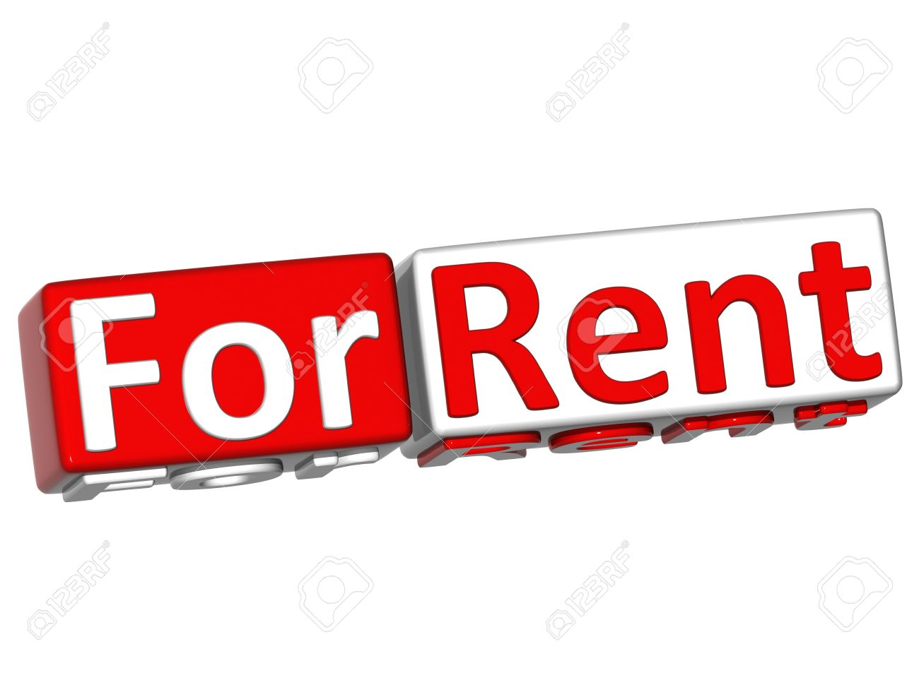 3D Block Button For Rent Text Over White Background Stock Photo ...