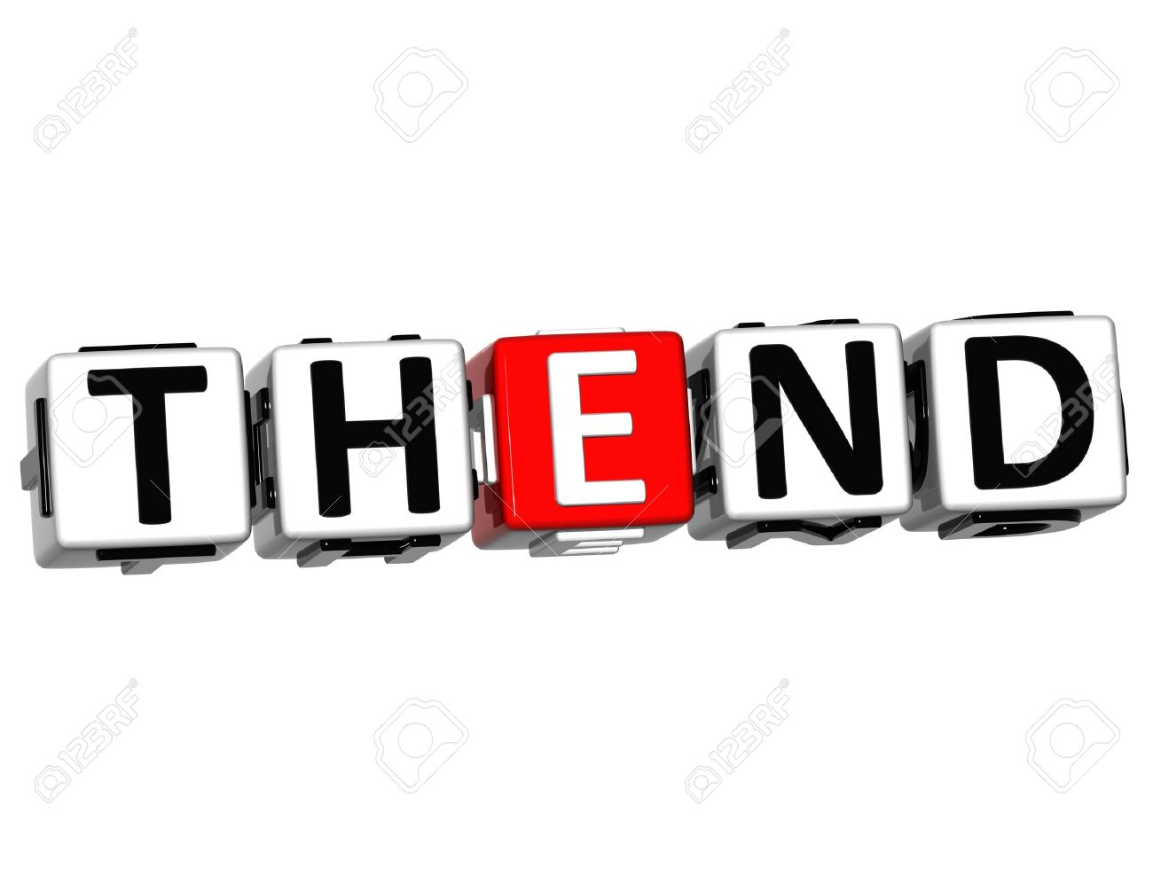 3D The End Cube text on white background Stock Photo - 12964567