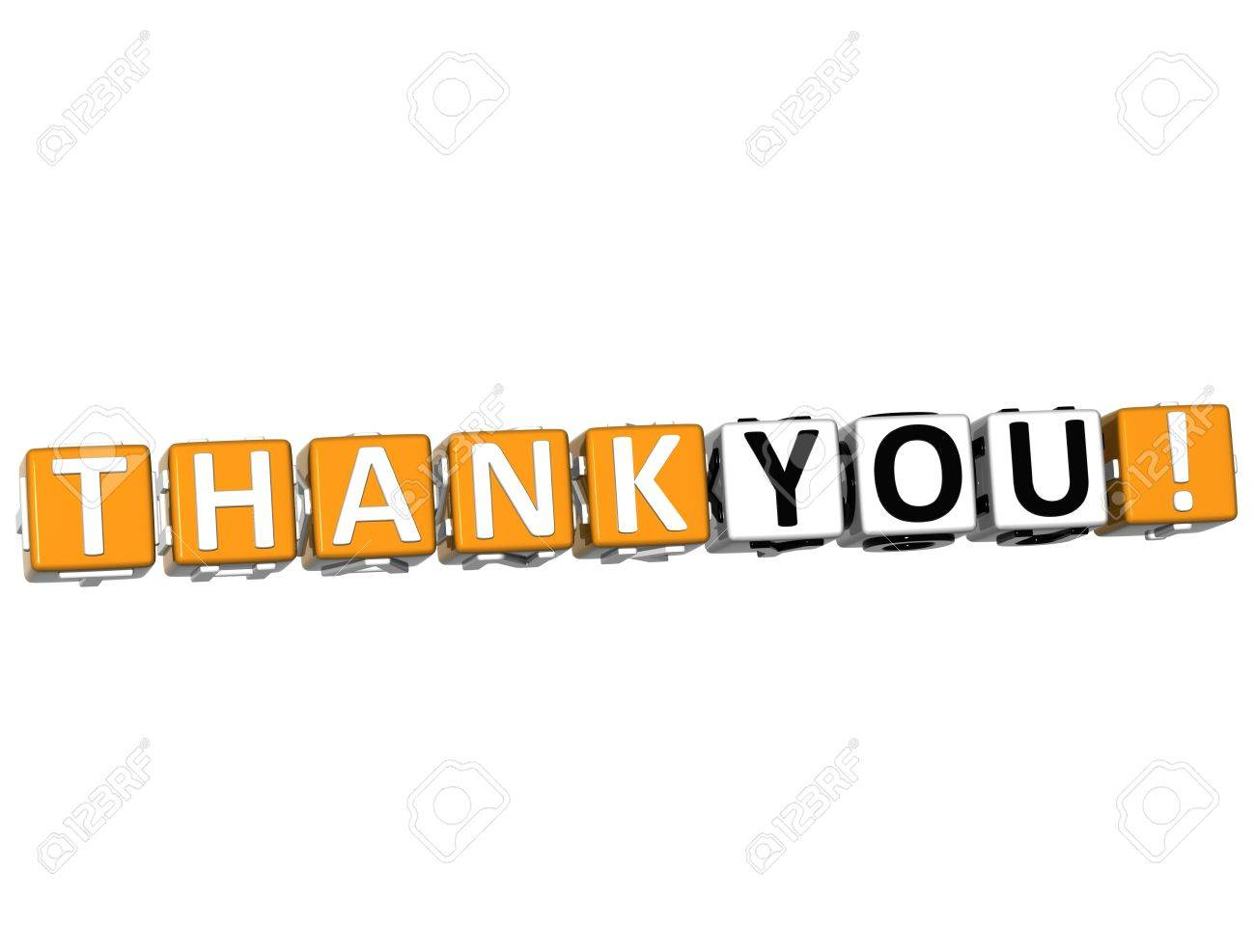 3D Thank You Cube text on white background Stock Photo - 13081614
