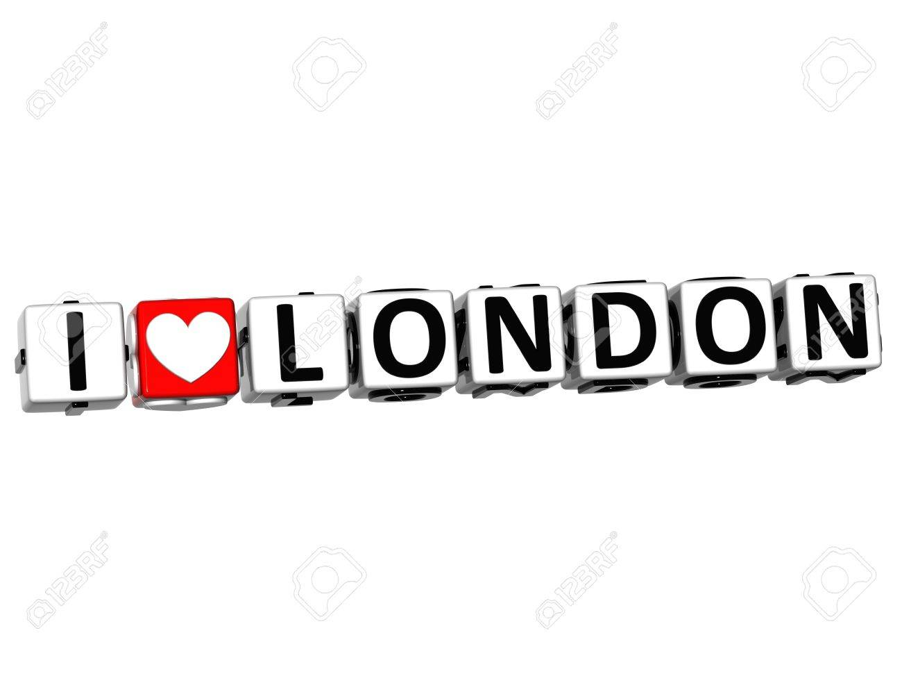 3D Love London Button cube text over white background Stock Photo - 13439502