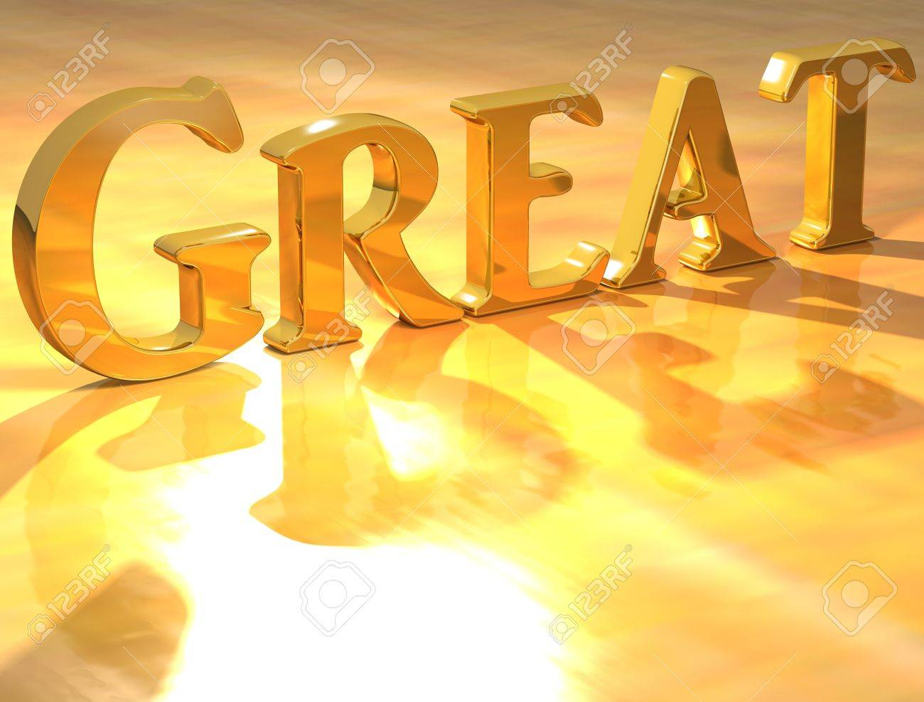 3D Great Gold text over yellow background Stock Photo - 13614007