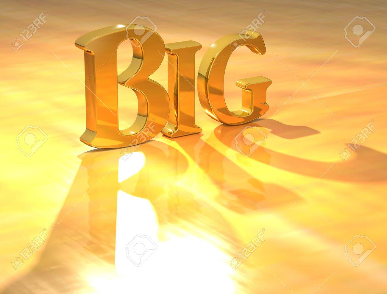 3D Big Gold text over yellow background Stock Photo - 13613997