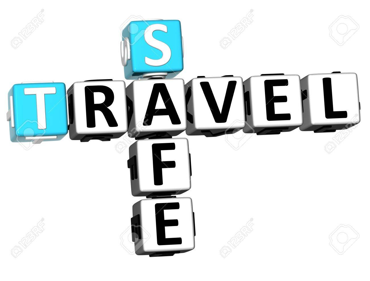 3D Safe Travel Crossword On White Background Stock Photo