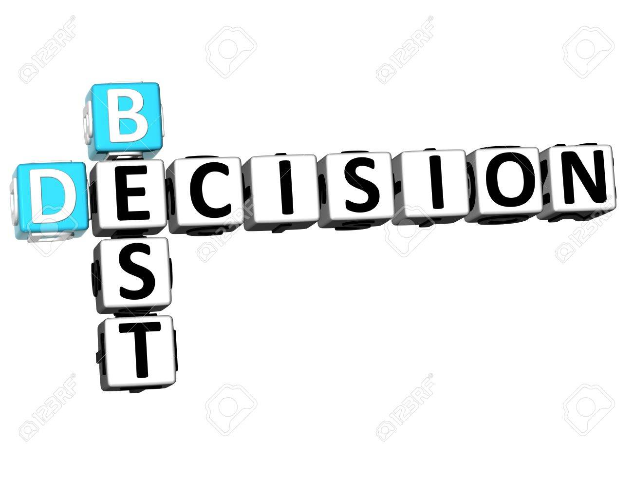 3D Best Decision Crossword on white background Stock Photo - 13700528
