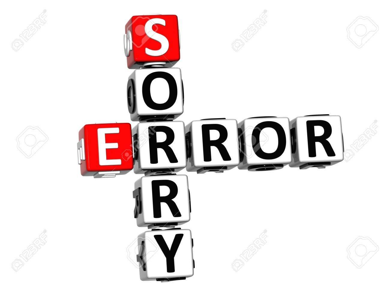 3D Error Sorry Crossword on white background Stock Photo - 13700696