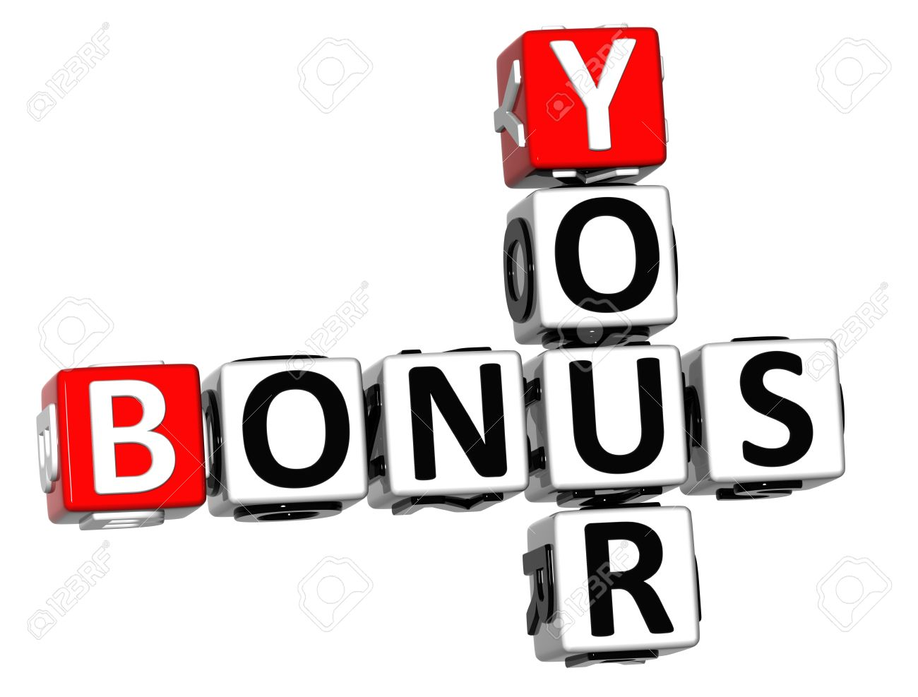 3D Your Bonus Crossword On White Background Stock Photo