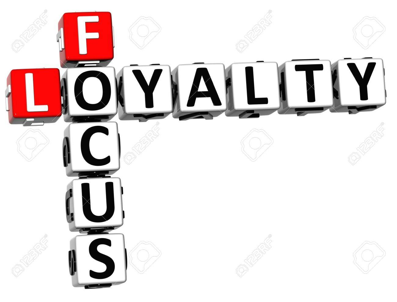 3D Focus Loyalty Crossword on white background Stock Photo - 13700734