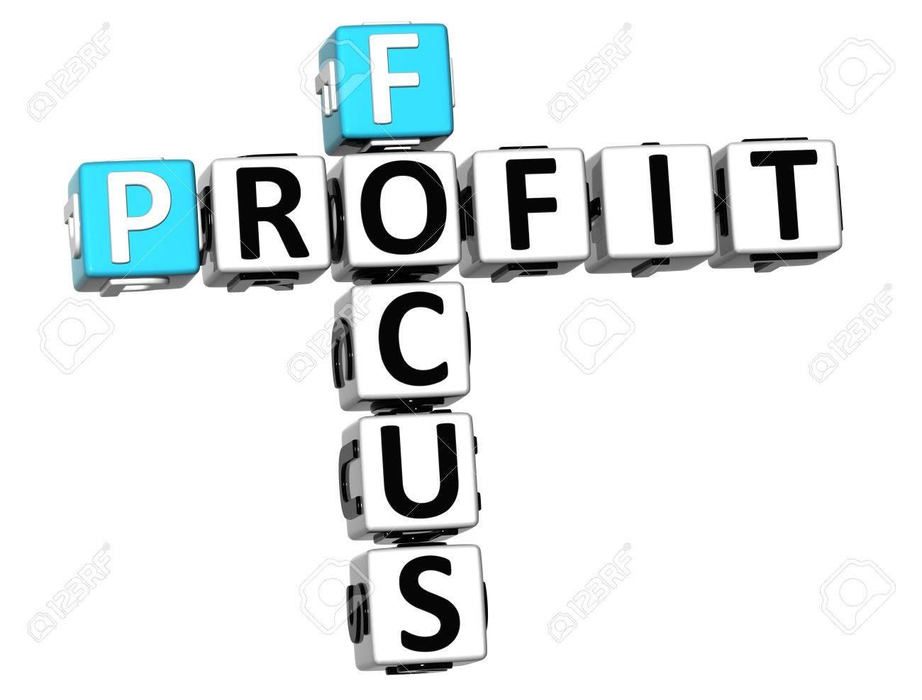 3D Focus Profit Crossword on white background Stock Photo - 13700715