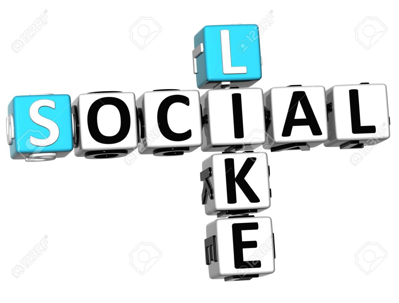 3D Social Like Crossword on white background Stock Photo - 13730641