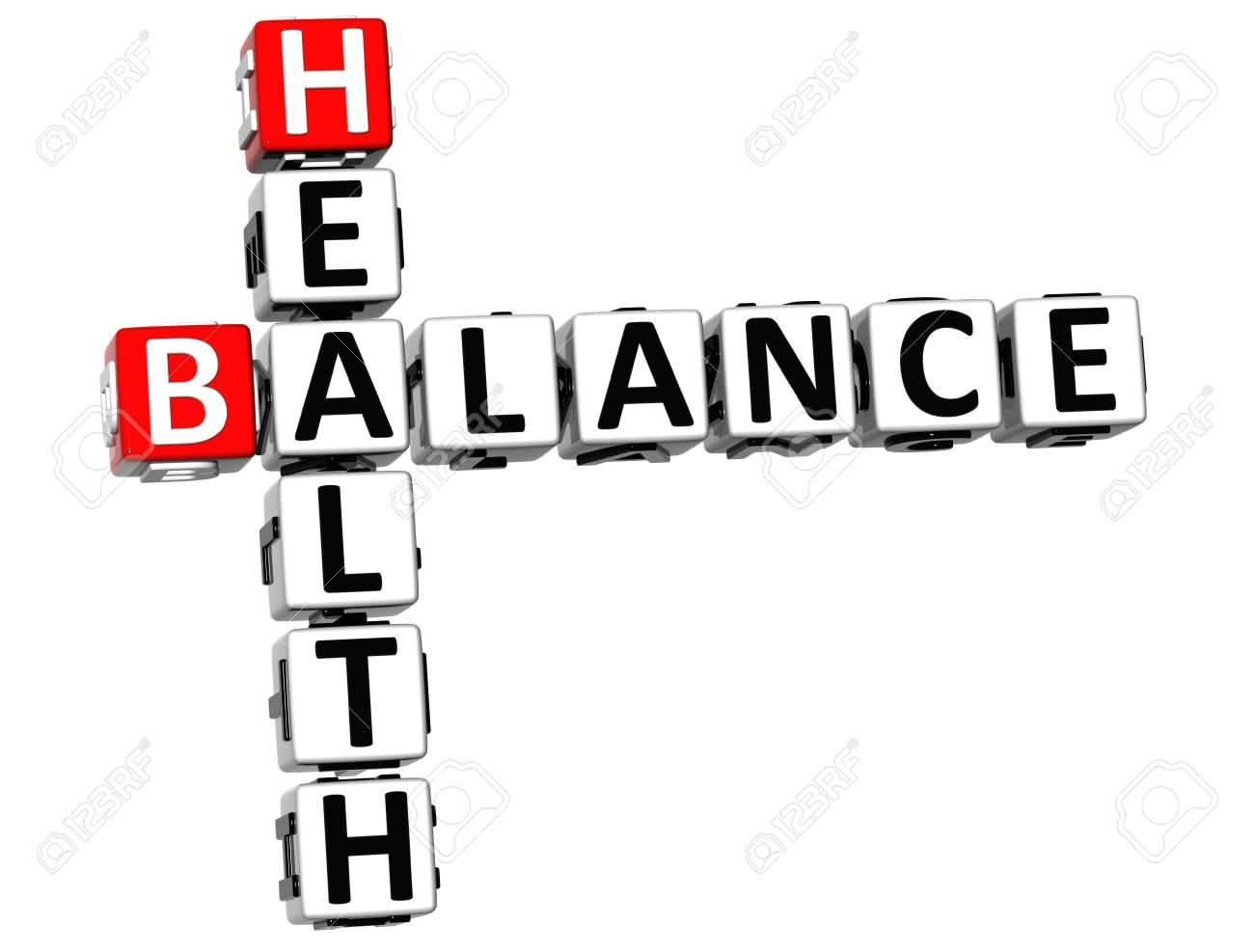 3D Health Balance Crossword on white background Stock Photo - 13735055
