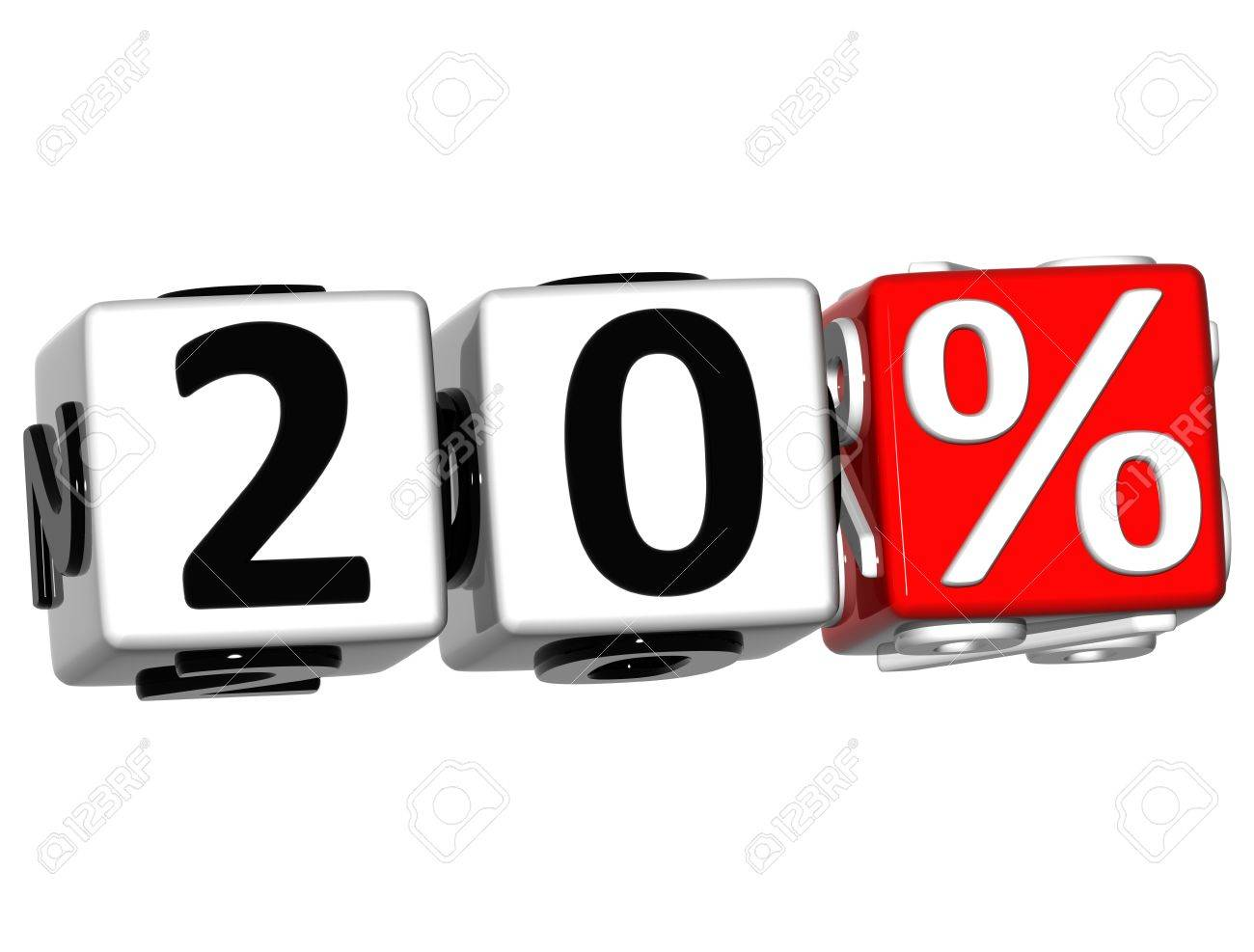3D 20 Percent Button Click Here Block Text over white background Stock Photo - 13876309