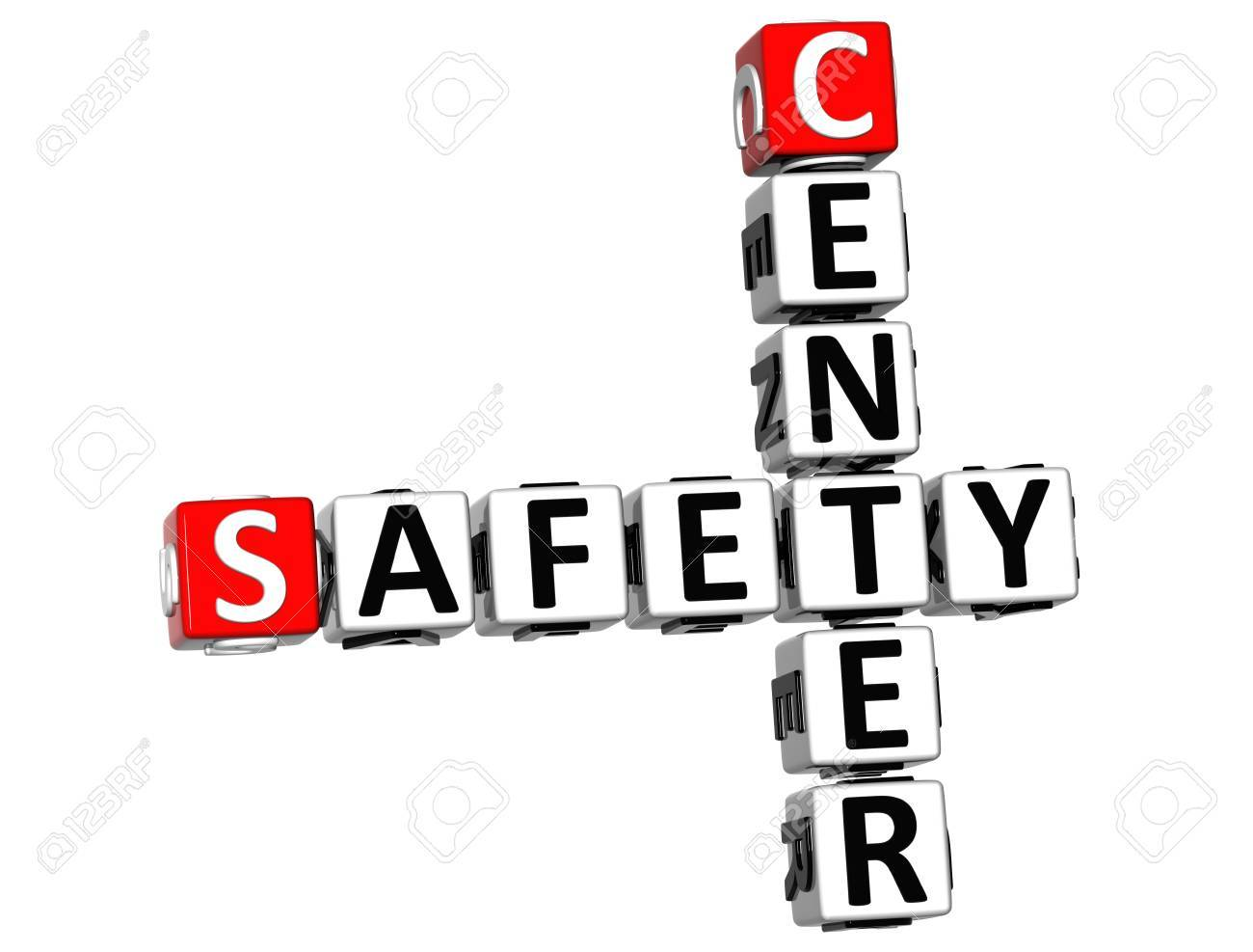3D Safety Center Crossword on white background Stock Photo - 13925447
