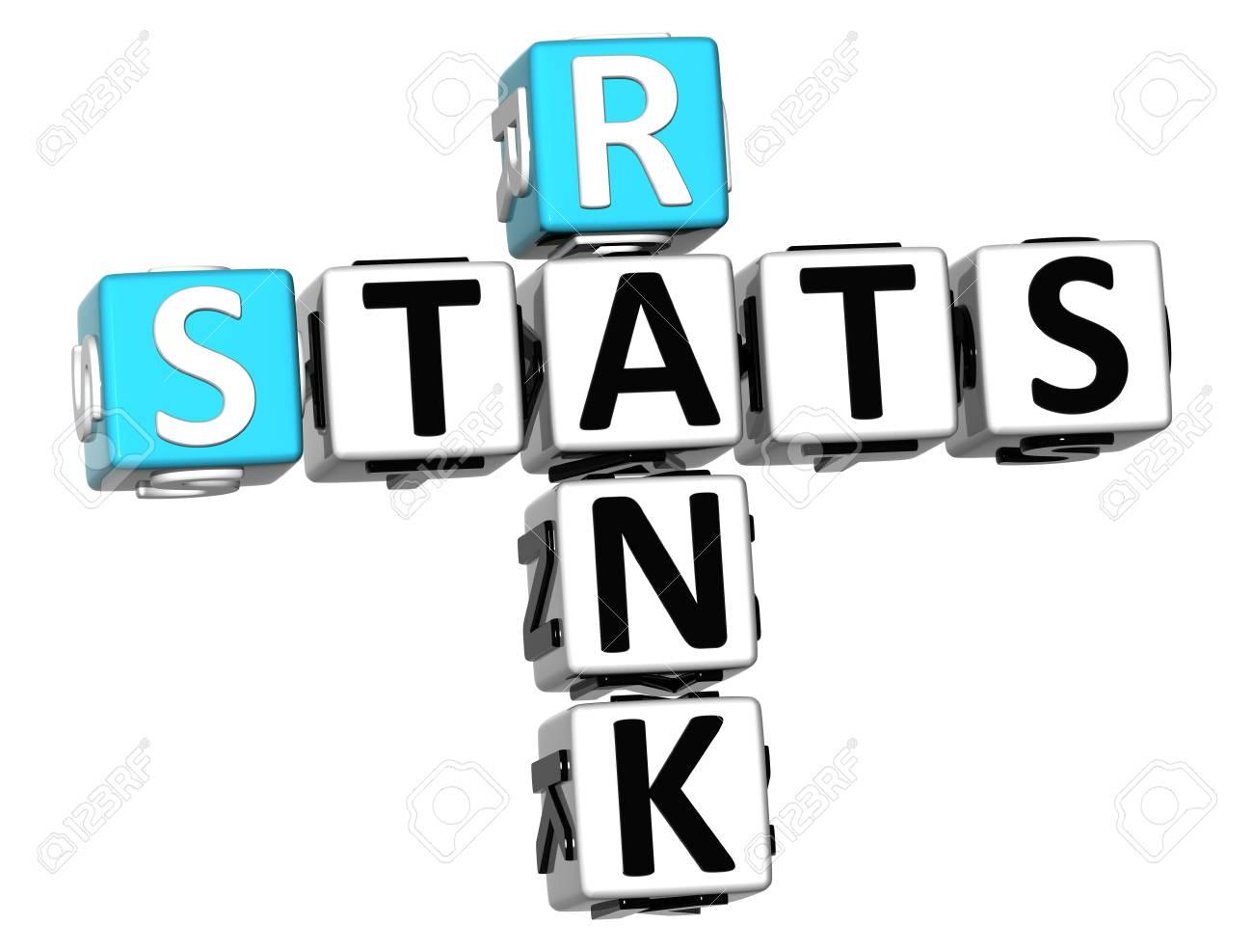 3D Rank Stats Crossword on white background Stock Photo - 13925527