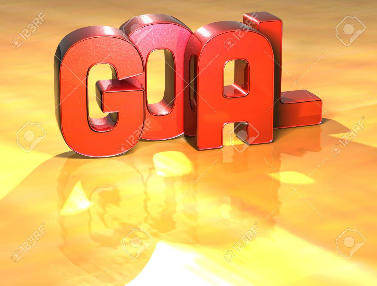 Word Goal on yellow background (high resolution 3D image) Stock Photo - 13963368