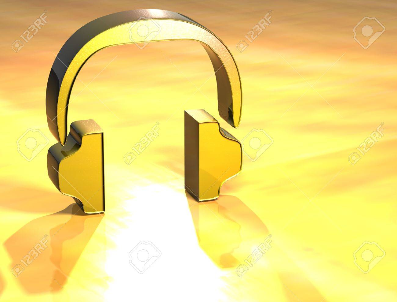 3D Headphones Gold Sign over yellow background Stock Photo - 13987038