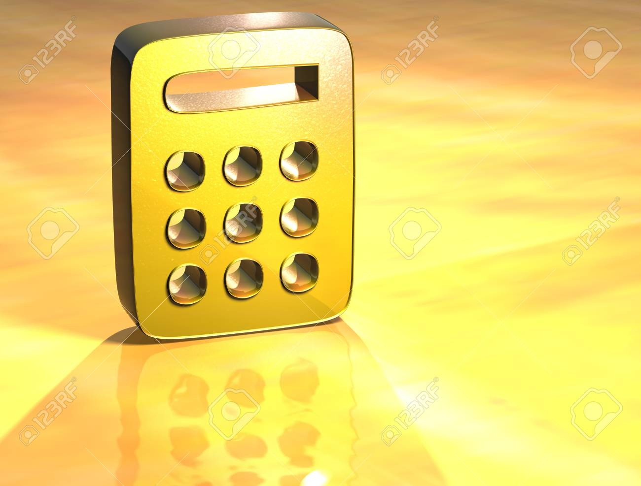 3D Calculator Gold Sign over yellow background Stock Photo - 14042349