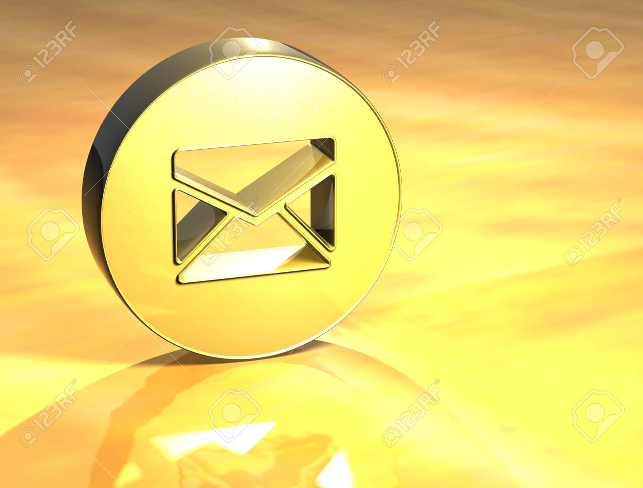3D Envelope Gold Sign over yellow background Stock Photo - 14053643