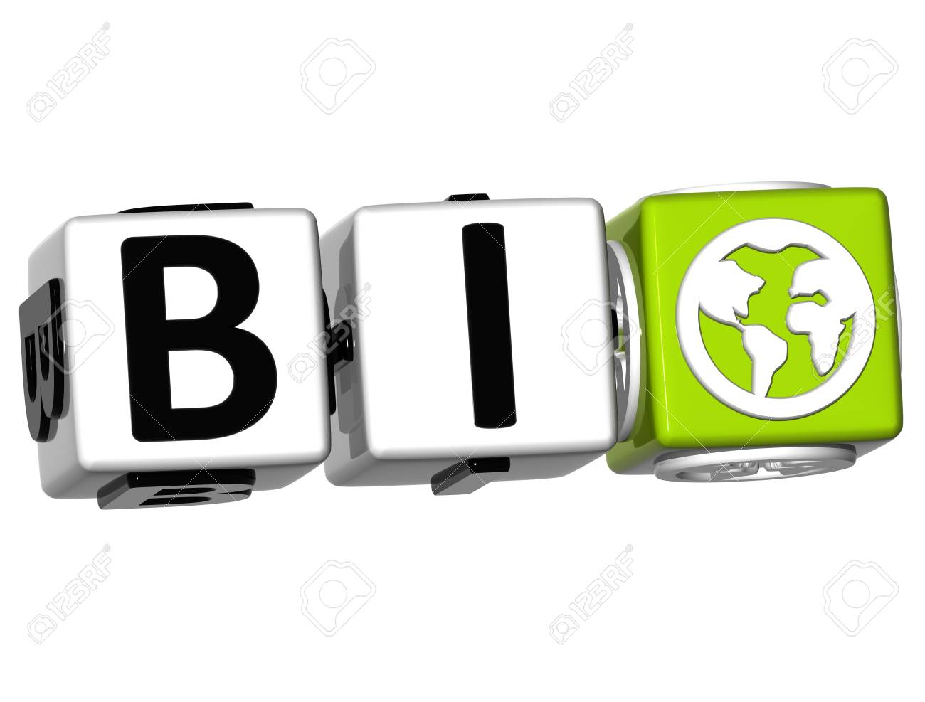 3D Bio Button Click Here Block Text over white background Stock Photo - 14183516