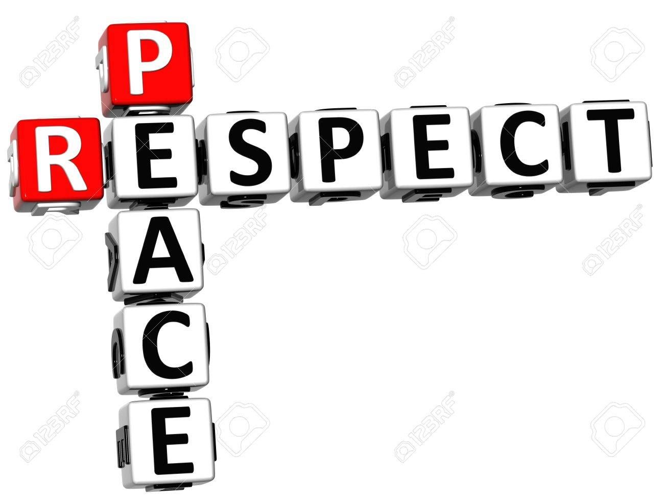 3D Respect Peace Crossword on white background Stock Photo - 14183839
